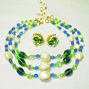 Popping! Kramer Foiled Peacock Eye Art Glass Necklace & Earrings