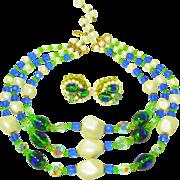 Popping! Kramer Foiled Peacock Eye Art Glass Necklace & Earrings
