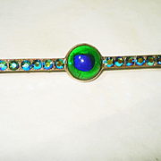 LG Edwardian Foiled Czech Peacock Eye Glass Pin