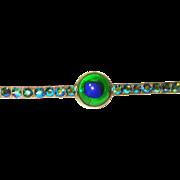 LG Edwardian Foiled Czech Peacock Eye Glass Pin