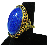 HUGE Czech Lapis Art Glass Adjustable Gilt Ring OLD