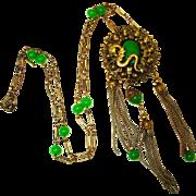 1920's Flapper Dragon Art Glass Tasseled Beaded Necklace