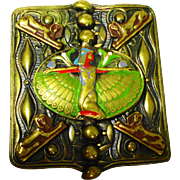 Lg Czech Enamel Egyptian Revival Ladies Belt Buckle