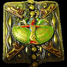 Lg Czech Enamel Egyptian Revival Ladies Belt Buckle (reserved for J)