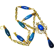 Dbl Griffin Peruzzi Style Czech Art Glass BF&Co Necklace