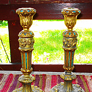 LG Tall Barbola Polychrome Roses and Ribbons Candle Holders Pair