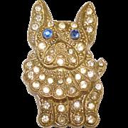 1920s French Bulldog Rhinestone Dress Clip