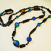 "Foiled Peacock Eye Black Jet 35"" Old Czech Glass Necklace"