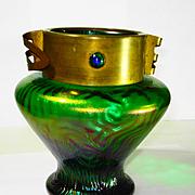 Loetz Jugendstil Peacock Eye Jeweled Metal Collar Art Glass Vase