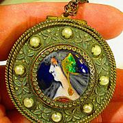 Art Nouveau Foiled Limoges Enamel Portrait Locket Necklace