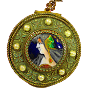 Art Nouveau Foiled Limoges Enamel Portrait Locket Necklace