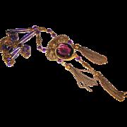 Figural Snake Ornate Filigree Amethyst Glass Czech Necklace