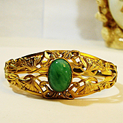 LG Art Nouveau Jeweled Peking Glass Hinged Bracelet