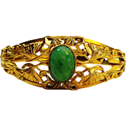 LG Art Nouveau Jeweled Peking Glass Hinged Bracelet