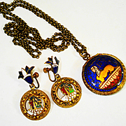 Egyptian Revival Locket and Screw back Earrings French