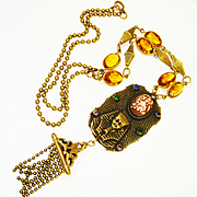 Jeweled Egyptian Revival Foiled Art Glass Flapper Necklace