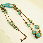 "32"" Czech Faux Turquoise Art Glass Filigree Necklace"