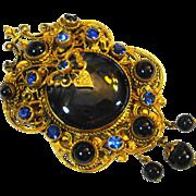 Ex Lg Neiger Czech Filigree Rhinestone Pin Pendant