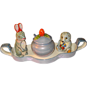 Noritake Art Deco Lusterware Figural Condiment Salt Pepper Set