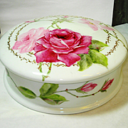 Huge Hand Painted Limoges Roses Dresser Jar Powder Box