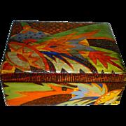 Superb Art Deco Hand Painted Flemish Art Crafts Box w Key