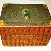 Arts & Crafts Ruskin Jeweled Pyrographic Box