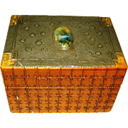 Arts & Crafts Ruskin Jeweled Pyrographic Box