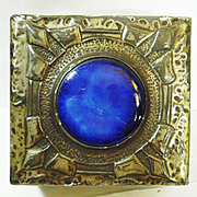 Fab Art Noveau Hammered Pewter Ruskin Jeweled Box