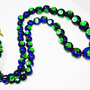 RARE Reverse Peacock Eye Foiled Art Glass Necklace