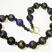 Old Chinese Dragon Enamel Lapis Bead Necklace