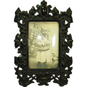 Civil War Victorian Gutta Percha Picture Frame w original curved glass