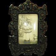 2Civil War Victorian Gutta Percha Picture Frame w original curved glass
