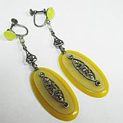 Fine Old Czech Edwardian Glass Bakelite Marcasite Dangle Earrings
