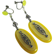 Fine Old Czech Edwardian Glass Bakelite Marcasite Dangle Earrings