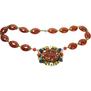 Fine Old Czech Enameled Jeweled Carnelian Art Glass Necklace