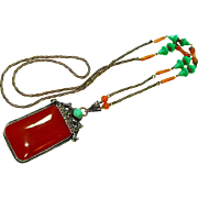 Elegant Old Czech Jeweled Carnelian Neiger Orientalist Necklace