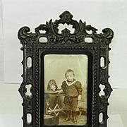 Civil War Victorian Gutta Percha Picture Frame w Roses