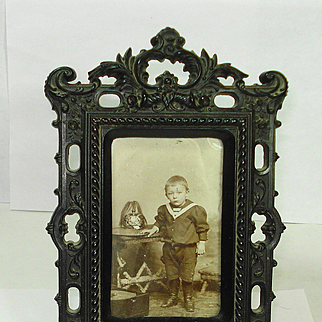 Civil War Victorian Gutta Percha Picture Frame w Roses