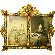Austro Hungarian Jeweled Dbl Frame Victorian Enamel