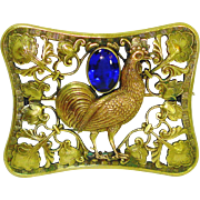 Huge Victorian Chicken Rooster Jeweled Sash Pin