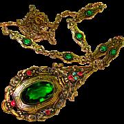 Edwardian Jeweled Czech Sautoir Negligee Necklace
