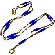 Sterling Silver Cobalt Enamel Watch Chain Necklace