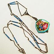 MINT 935 Enamel Meyle Mayer Enamel Watch & Watch Chain Necklace Bucherer