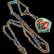 MINT 935 Enamel Meyle Mayer Enamel Watch & Watch Chain Necklace Bucherer / Argent Dore'