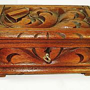 Deeply Carved Victorian Walnut Jewelry Box with Key