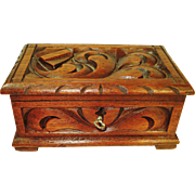 Deeply Carved Victorian Walnut Jewelry Box with Key