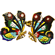 Colorful Antique Enamel Butterfly Buckle or Cape  Clasp