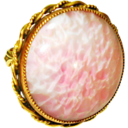 HUGE RING Art Nouveau Shimmering Czech Pink Peking Glass