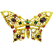 "Ornate Czech Jeweled Filigree Butterfly Brooch w ""C"" Clasp"