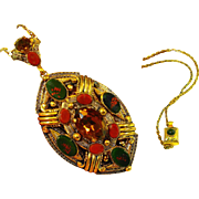 HUGE Signed Old Czech Art Glass Lavalier Pendant Necklace